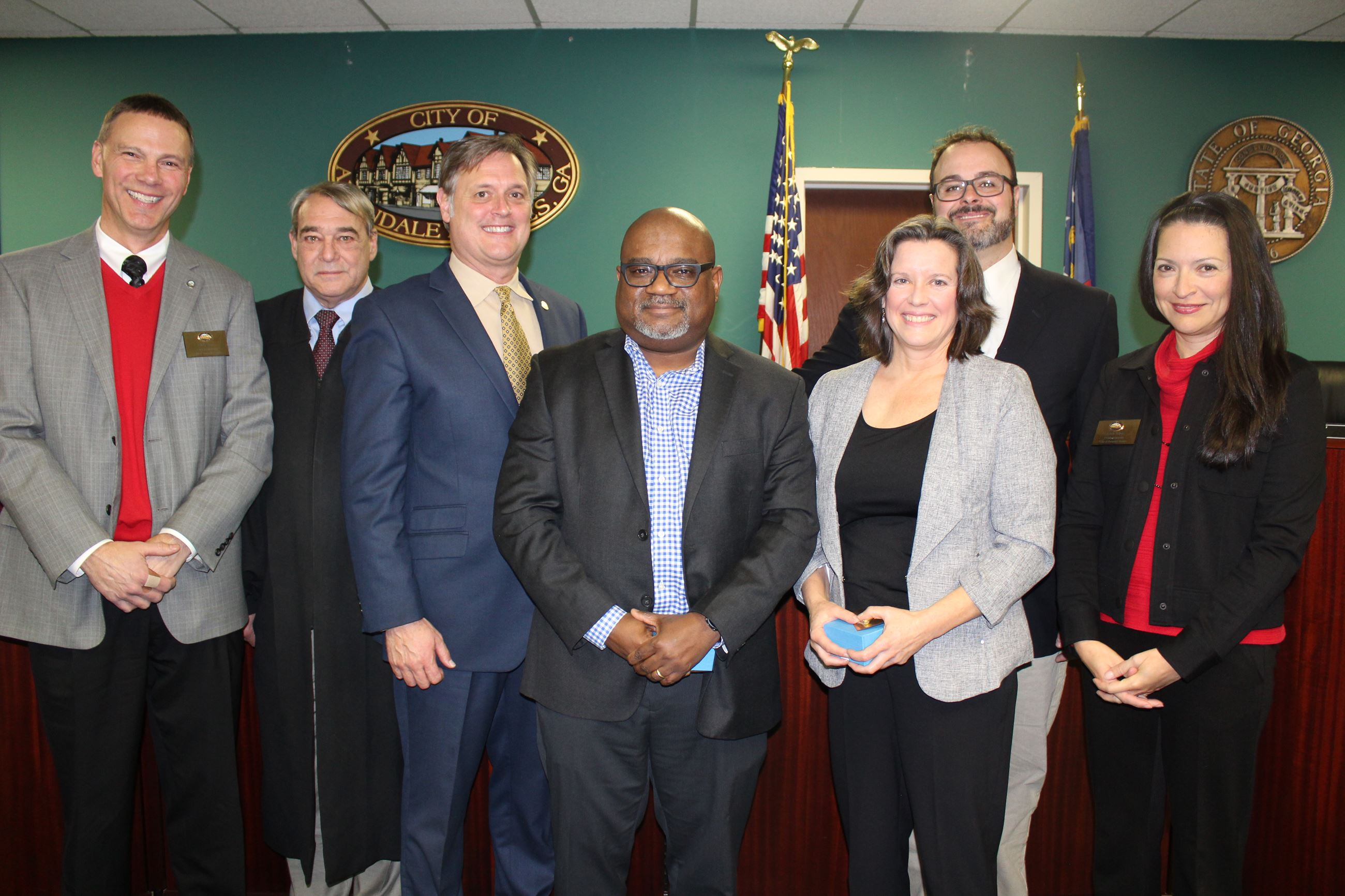 Board of Mayor and Commissioners with City Manager Clai Brown and Judge Stephen Nicholas